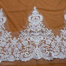 beautiful 47cm width off white Bilateral shine Beaded sequins lace trim gorgeous lace trim for bridal accesssories 1 yard