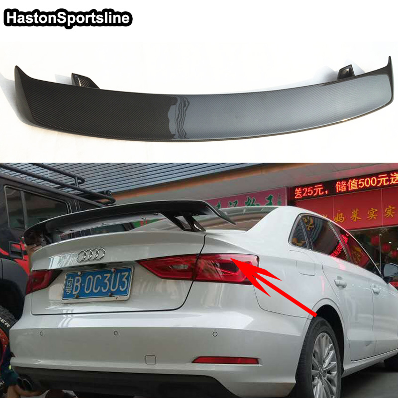 A3 Modified R Style Carbon Fiber Rear Trunk Lip Spoiler Car Wing for Audi A3 S3 RS3 S-Line Universal Car-Styling pu rear wing spoiler for audi 2010 2011 2012 auto car boot lip wing spoiler unpainted grey primer