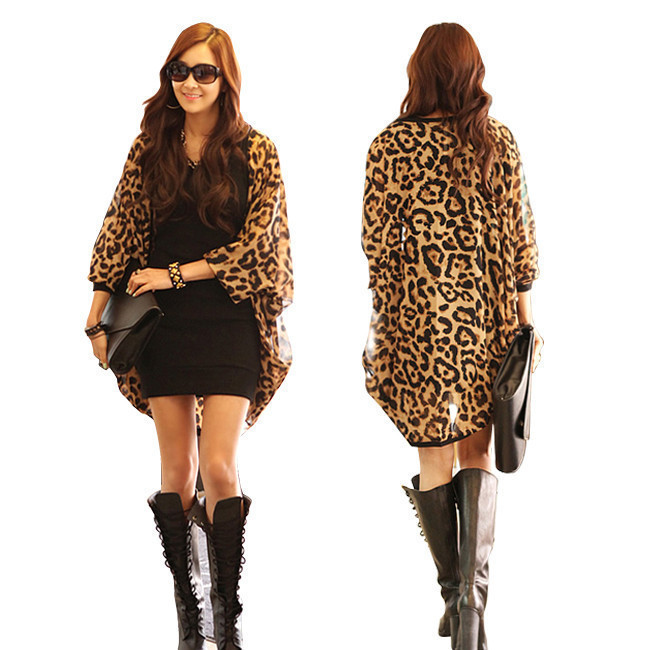 New Fashion Korean Women's Ladies Loose Print Chiffon 1/2 Batwing Sleeve Leopard Dress Free Shipping 11616
