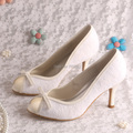 Custom Handmade Lovely Princess Wedding Shoes Beige Lace with Bows for Ladies