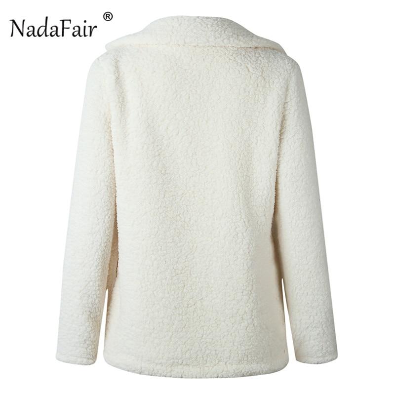 Nadafair plus size fleece faux fur jacket coat women winter pockets thicken teddy coat female plush overcoat casual outerwear 23