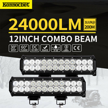 72W 12 inch LED Work Light Bar Combo Fog Driving Lamp Offroad 4wd For Ford Jeep Waterproof 4x4 Of Road