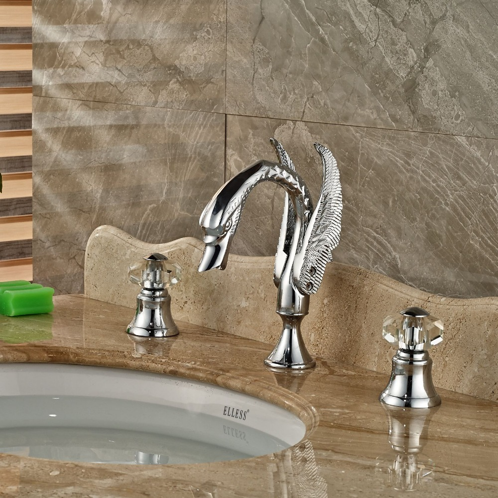 Crystal Handles Chrome Brass Widespread Bathroom Basin Faucet Vanity Sink Mixer стоимость