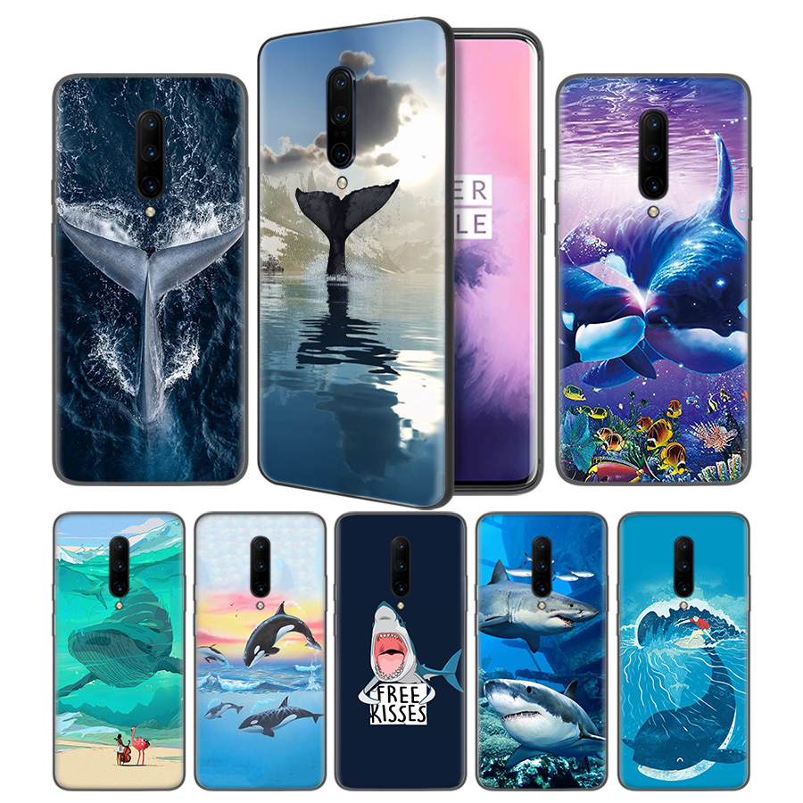 Funny Animal Whale Soft Black Silicone Case Cover for font b OnePlus b font 6 6T
