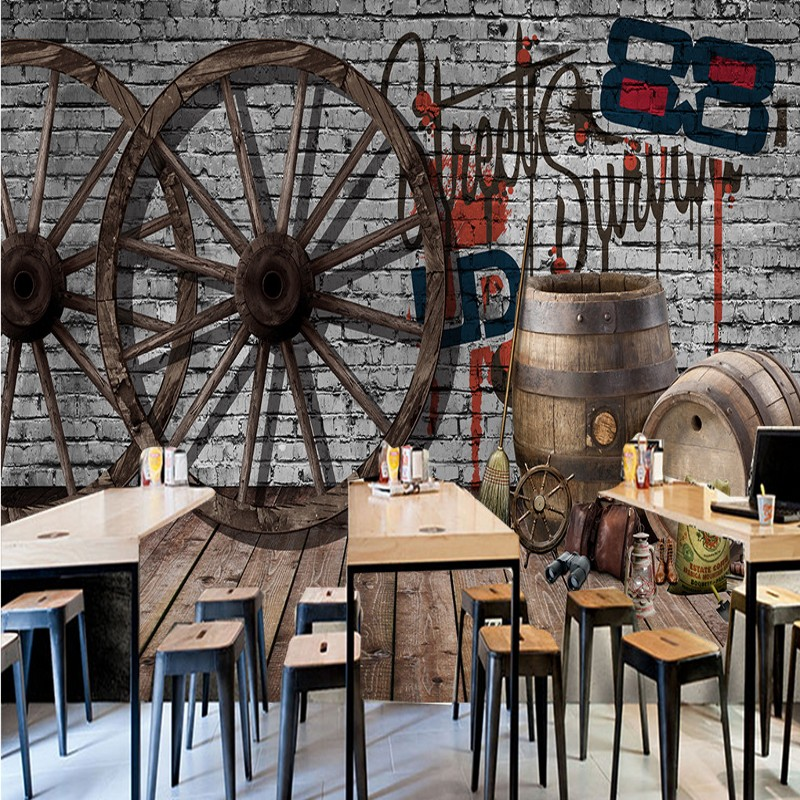 Custom photo wallpaper Custom Retro old wood wheel brick wall mural cafe milk tea shop background wallpaper restaurant mural custom photo wallpaper 3d retro wheel imitation brick wall wallpaper mural bar restaurant lounge hotel wallpaper
