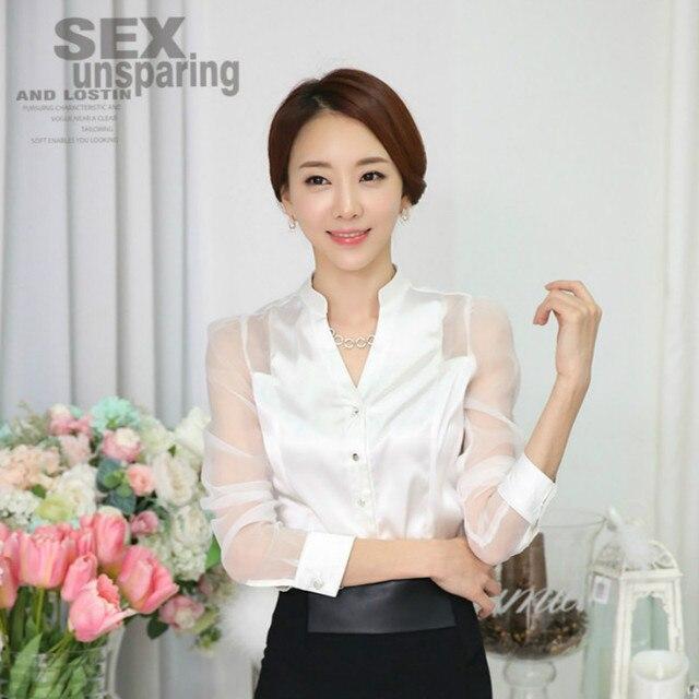 Organza de corea costuras blusa de la gasa camisa de seda original ...