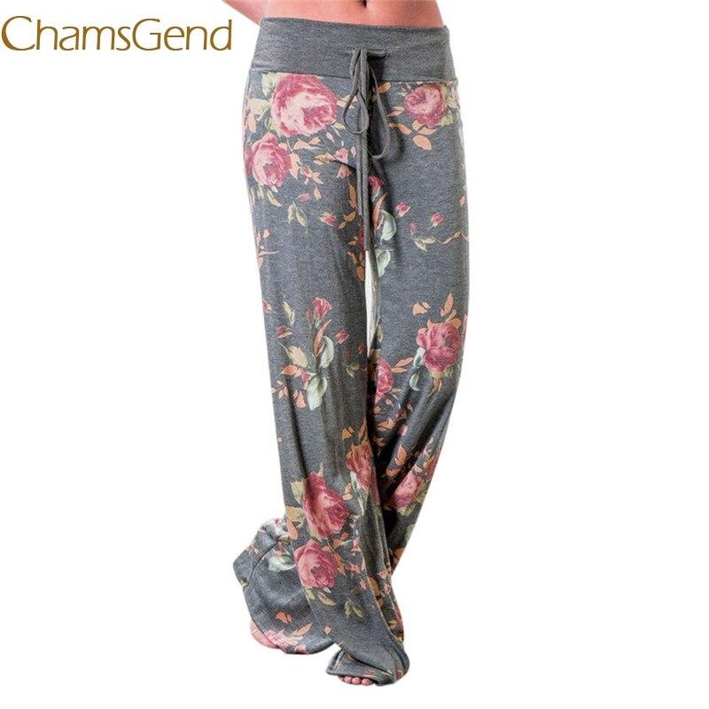 2018 Floral American Flag Drawstring Pants Women Wide Leg Leggings casual Pants tops hot #0608