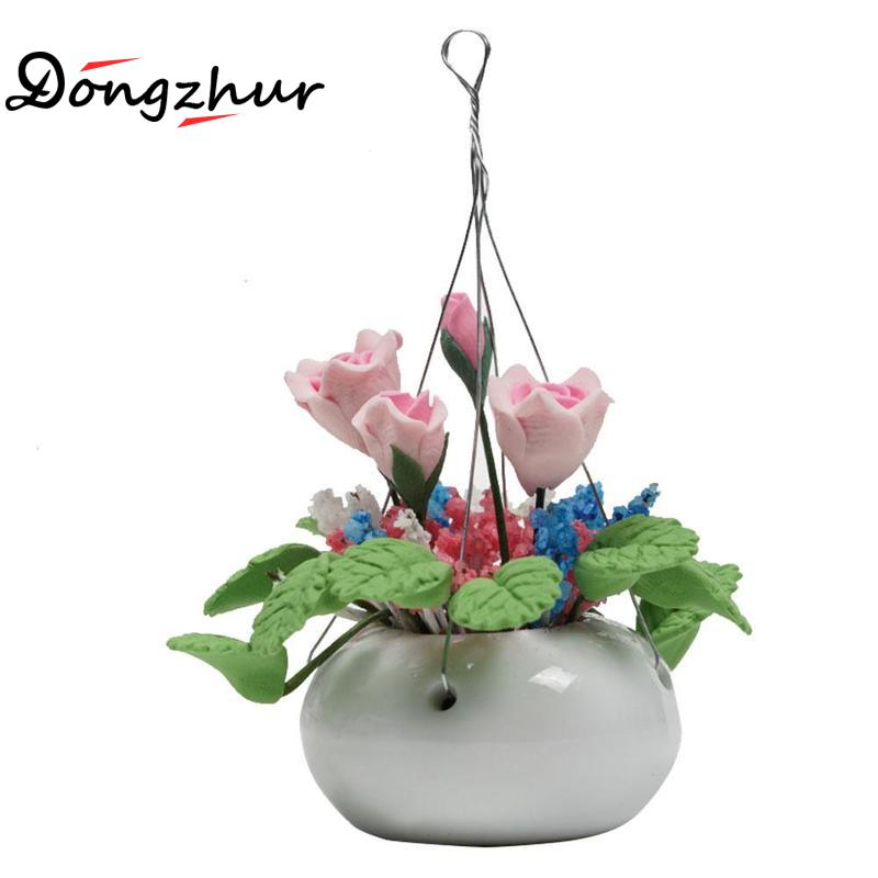 Earnest Dongzhur Doll House Mini Flower Pattern Clay Flower Purple Rose White Hanging Pot Dollhouse Miniatures 1:12 Accessories Decor Unequal In Performance Doll Houses