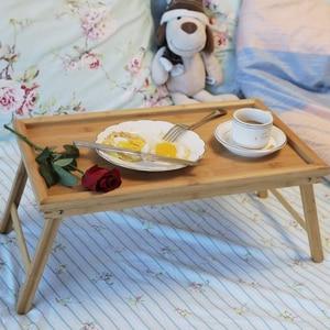 Image 5 - SUFEILE خشبية طاولة كمبيوتر محمولة قابلة للطي الإفطار تخدم صواني السرير ، قابل للتعديل طوي مع الوجه العلوي والساقين الكمبيوتر حامل مكتبي