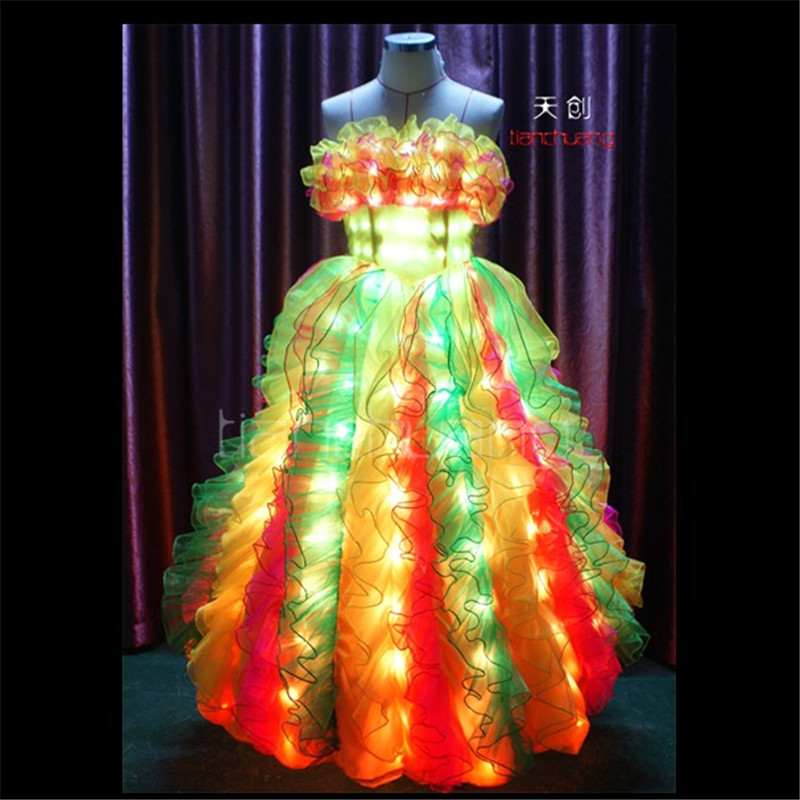 TC-6 Full color LED colorful light women costumes party skirt wears ballroom dance ballet wedding dresses led cloth programmable