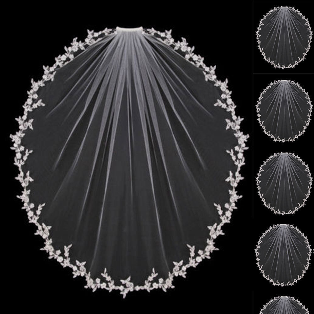 Wedding Veils Bridal Accessories White Ivory Elbow Length with Comb Appliques Lace Bridal Veils Free Shipping