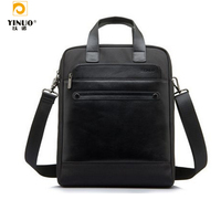 YINUO 13 14 LaptopMessenger Bag,Top Nylon Waterproof+Genuine leather Handbag For Notebook/MacBook with Shoulder Strap Handles