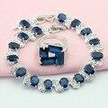 ASHLEY Azul Criado Sapphire Cristal Pulseiras Cúbicos de Zircônia Conjuntos de Jóias de Cor Prata Para As Mulheres Pulseira/Anel de Caixa de Presente Livre