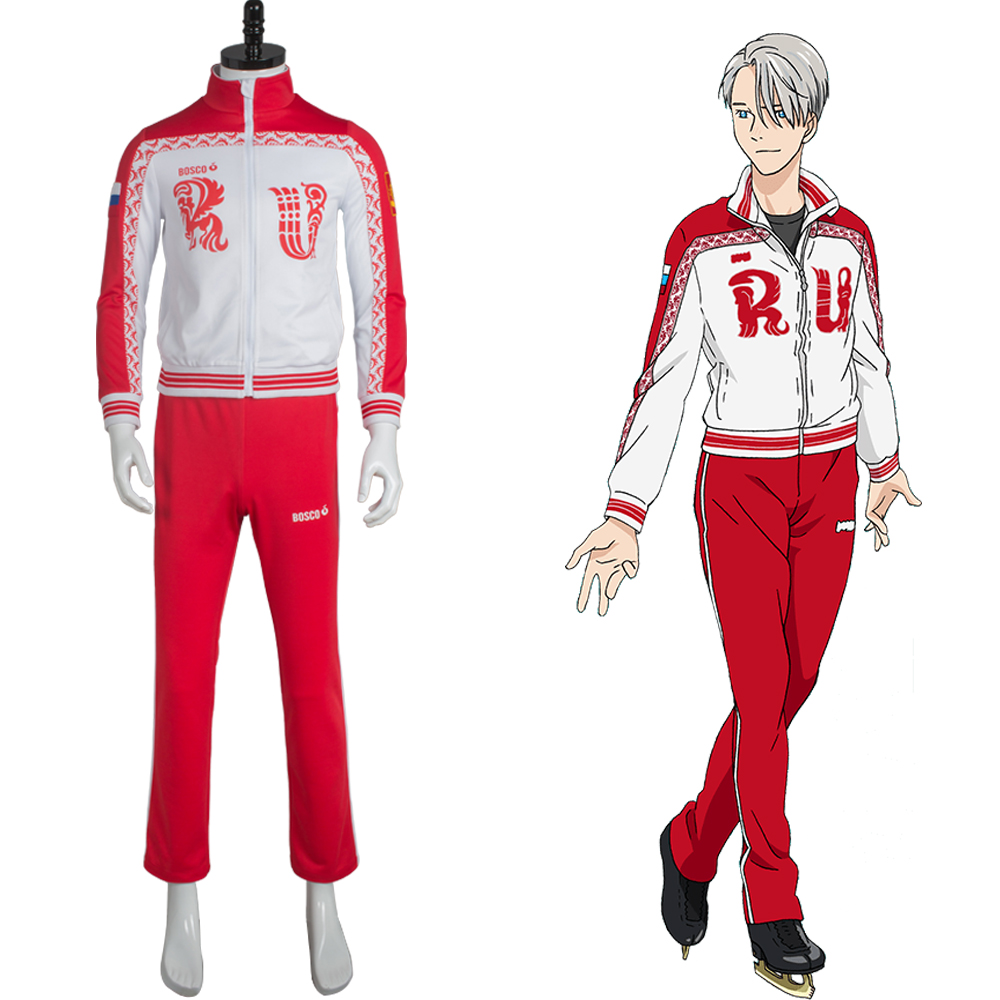 Victor Nikiforov Costume Yuri on Ice Victor Nikiforov Uniform Cosplay Costume Jacket Pants Halloween Party New Anime Custom Made