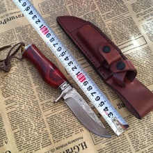 Very sharp Cutting tools, outdoor Damascus manual forging straight knife Tactical saber wood handle knife collection gift