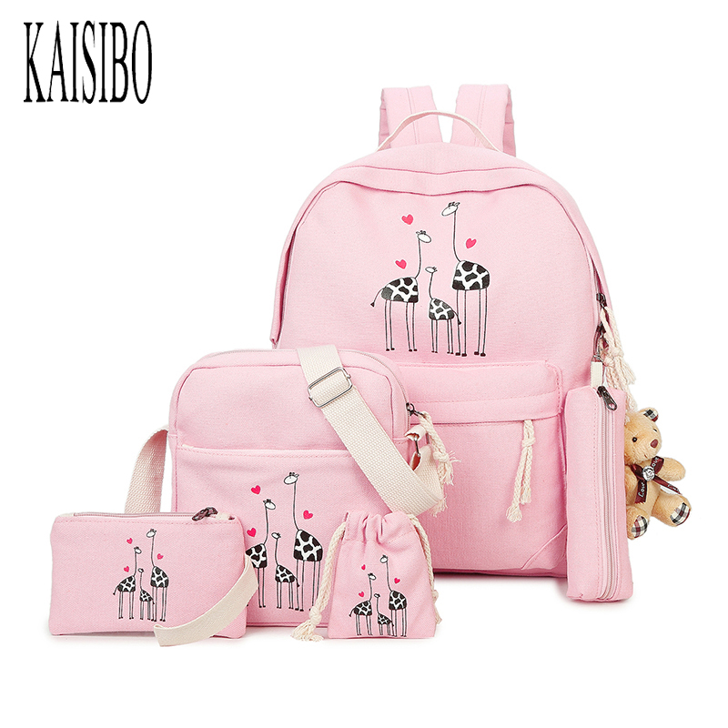 KAISIBO 5Pcs Sets Women Canvas Backpack Cartoon Printing Students Bookbag Female With Purse Bear Travel Bags