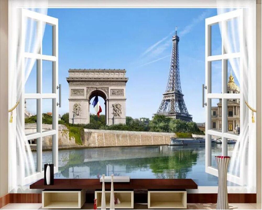 US $8 8 OFF Beibehang Papel De Paredewallpaper Balkon Paris Pemandangan Menara Eiffel Wallpaper Foto TV Latar Belakang Wallpaper Untuk Dinding