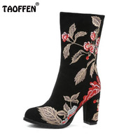 TAOFFEN Brand Winter Boots For Women Real Leather Thick High Heel Half Short Boots Women Embroidery