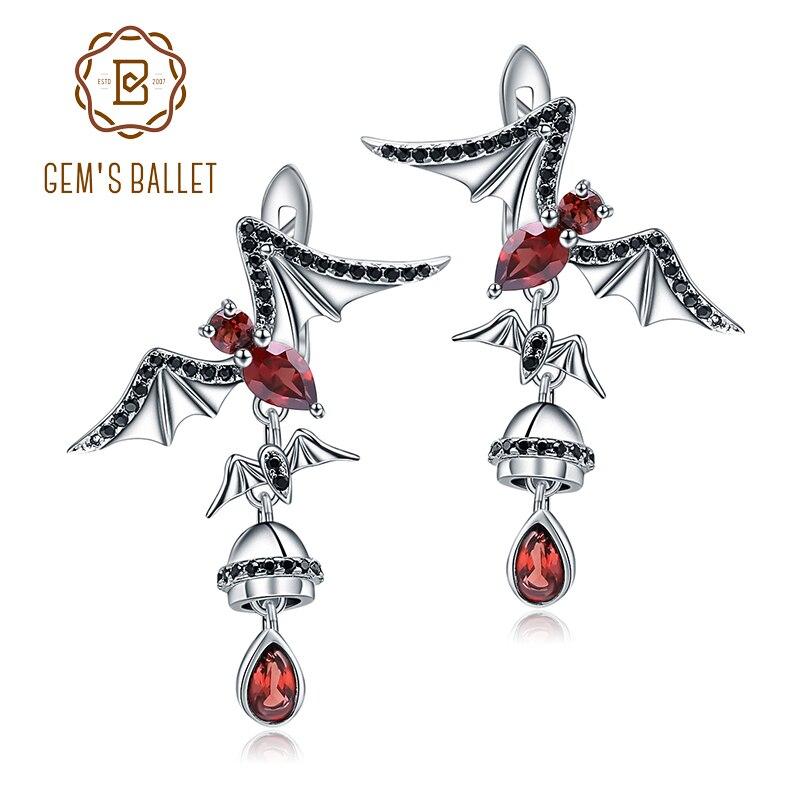 GEM S BALLET Natural Red Garnet Bat Drop Earrings 925 Sterling Sliver Gothic Punk Animal Earrings