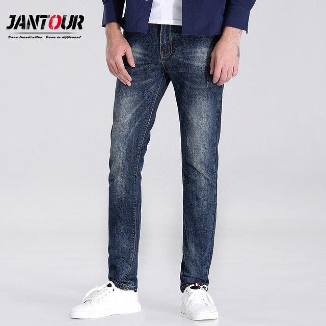 e466aaaeb € 47.78 |Jantour 2018 alta calidad marca ropa azul jeans hombres Slim  Casual Denim biker jean mans pantalones apenados homme hombre en Pantalones  ...