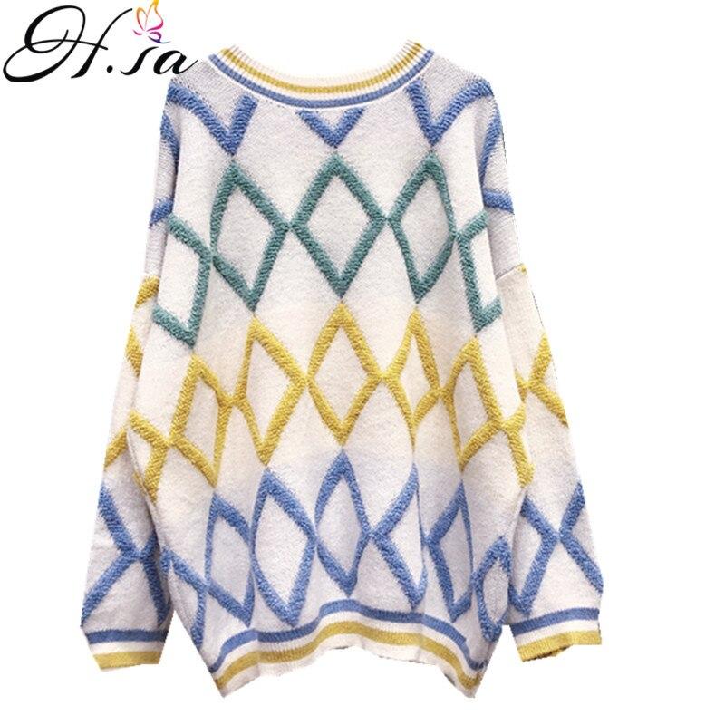4a685a7e918 H. SA 2018 осень зима новый свитеры для женщин и пуловеры Oneck плед Argyle  тянуть