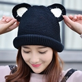 Hot Fashion Autumn Winter Knitted Cute Women's Ladies Cat Ears Fleece Lined Soft Velvet Hemming Solid Color Gorro Female Hat