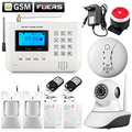 LCD Keyboard Wireless SMS Home GSM PSTN Alarm systems House intelligent auto Burglar Door Security Alarm System kit+WIFI camera
