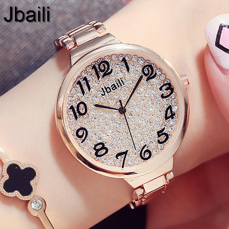 Luxury Brand Bling Rhinestone Steel Quartz Womens Watch Fashion Casual Rose Gold Ladies Dress Wristwatch Gifts 2017 Clock Female