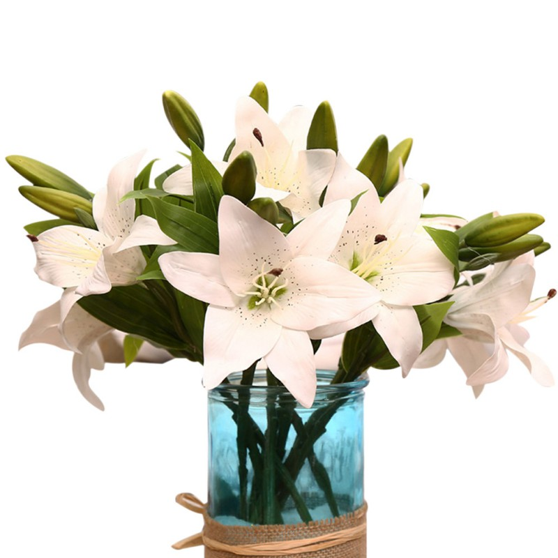 High Quality 3 Heads Artificial Touch Lily Flowers Latex Wedding Bridal Bouquets DIY Party Decorative Flowers 2018 2018