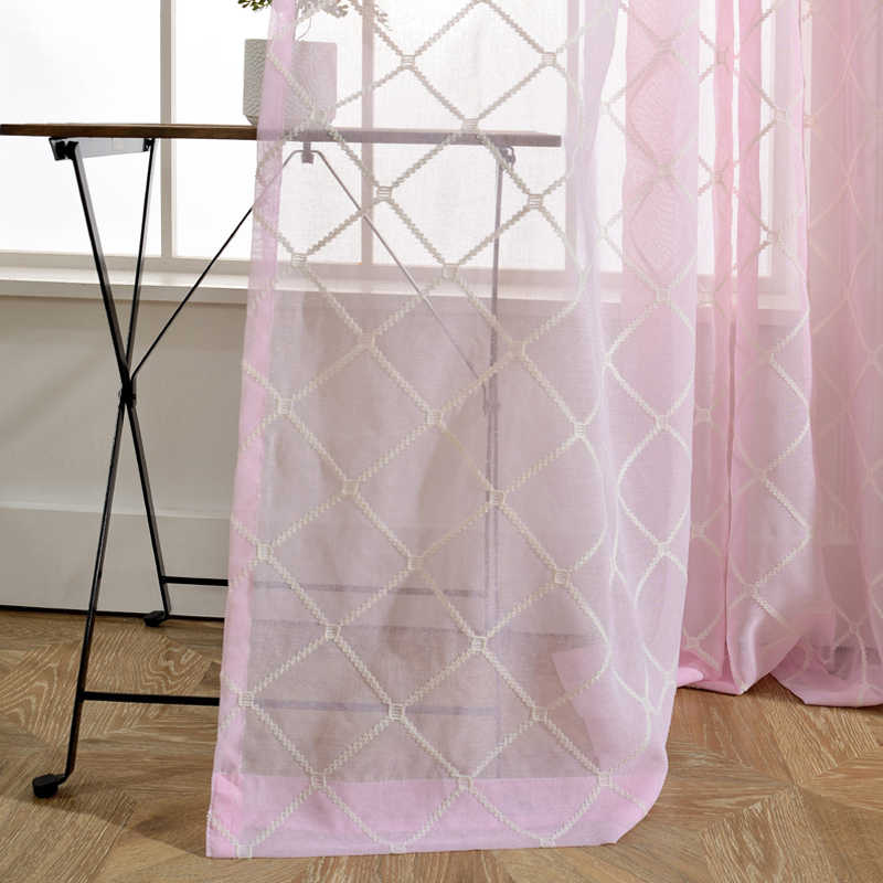 New Designed White Diamond Window Treatments Yarn Pink Blind Curtain for Living Room Blue Plaid Bedroom Tulle Curtains AP054-30