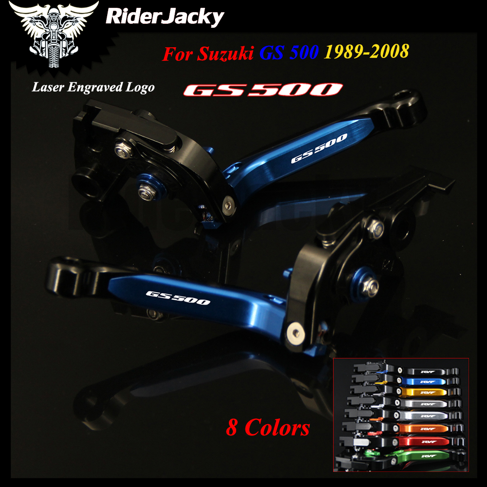 For Suzuki GS 500 1989-2008 2002 2003 2004 2005 2006 2007 Blue+Black Motorcycle Accessories CNC Adjustable Brake Clutch Lever