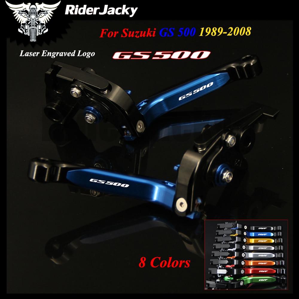 For Suzuki GS 500 1989-2008 2002 2003 2004 2005 2006 2007 Blue+Black Motorcycle Accessories CNC Adjustable Brake Clutch Lever