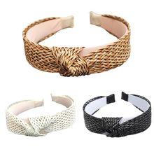 Bohemian Handmade Coarse Woven Knit Headband Women Girl Twist Knotted Wide Hair Hoop Hollow Out Solid Color Beach Straw Headwear