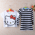 spring Autumn baby 2pcs girl suit Short Tee+Striped dress kids clothing set girls clothes