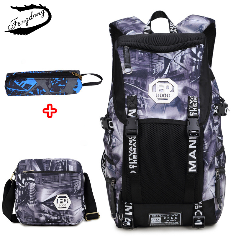 Fengdong Large Capacity Backpack For Men Backpacks Middle School Students Bag Korean Fashion Burden Water Splashing Bag oxford bag korean version of the female students shoulder bag large capacity backpack canvas backpacks