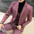 Autumn and winter thickening British suit men's suit three-piece groom groom suit wedding dress trend hairstylist