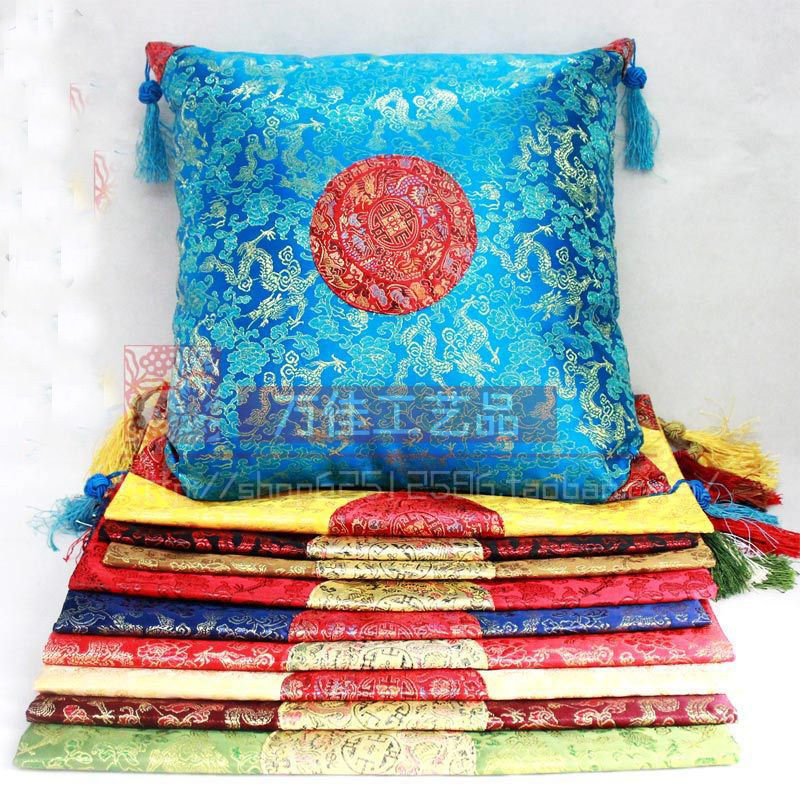 wholesale 10 pcs 45 45cm Chinese Silk Solid Color Little Dragon Pattern Cushion cover