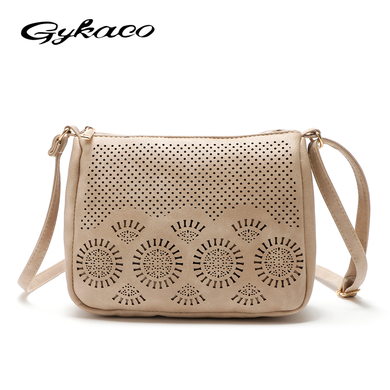 Gykaeo Luxury Handbags Women Bags Designer Small Casual Hollow Out Shoulder Bag Ladies Summer Crossbody Messenger Bag Sac A Main retro british school women messenger bag embossed hollow out shoulder briefcase department of forestry casual satchel