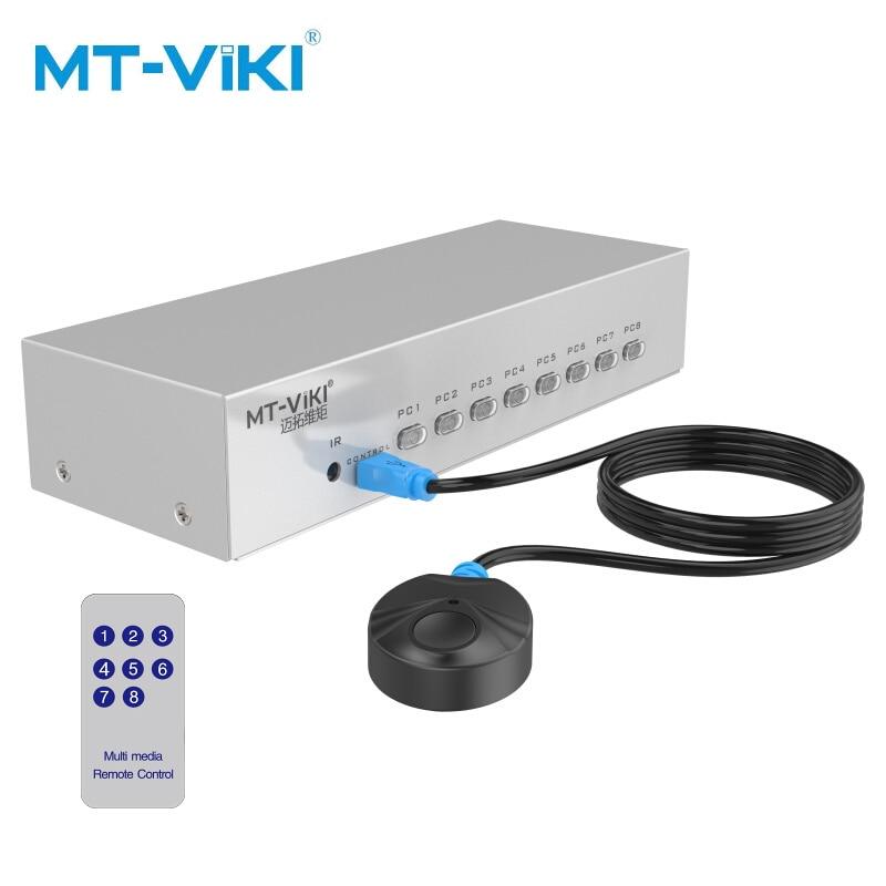Mt-viki commutateur VGA 8 ports avec télécommande IR et commutateur d'extension filaire bouton de presse à touches manuel 350MHz1080P MT-15-8DH