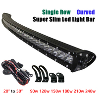 Single Row Curved Led Bar Spot Combo Work Off road Led Light Bar Offroad 4X4 Barra for Auto Car Tractor Truck Worklight 12V 24V