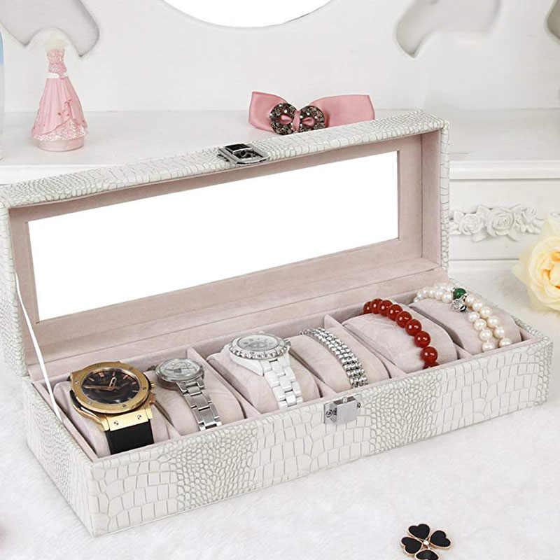 Caixa de relógio grande 6 masculino feminino crocodilo grão couro display vidro superior jóias caso