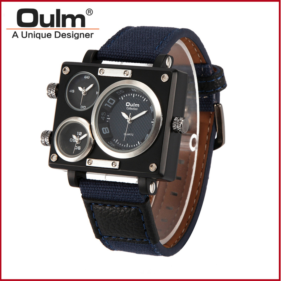 5cm Big Face Men's Army Watches Oulm 3595 Rectangular #