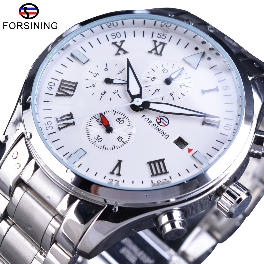 Forsining Classic Stainless Steel Series Men Multifunction Calendar Men Watch Top Brand Luxury Automatic Mechanical Wrist Watch