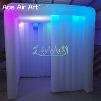 Colorful Newly white photo booth enclosure wedding party inflatable photo station LED spotlight without selfi mirror for sale