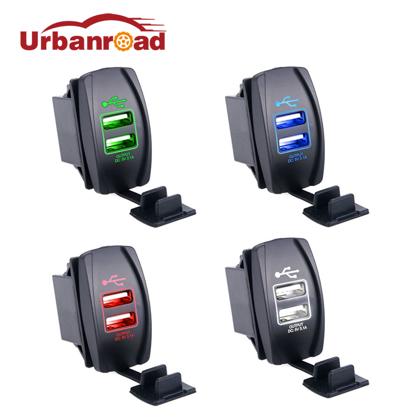 Universal Dual USB Car Charger 3.1a Led USB Car Charger 12 24v Output For Iphone 5S 6 6S Samsung Toyota Båd Mp3 Mp4 Toyota Båd
