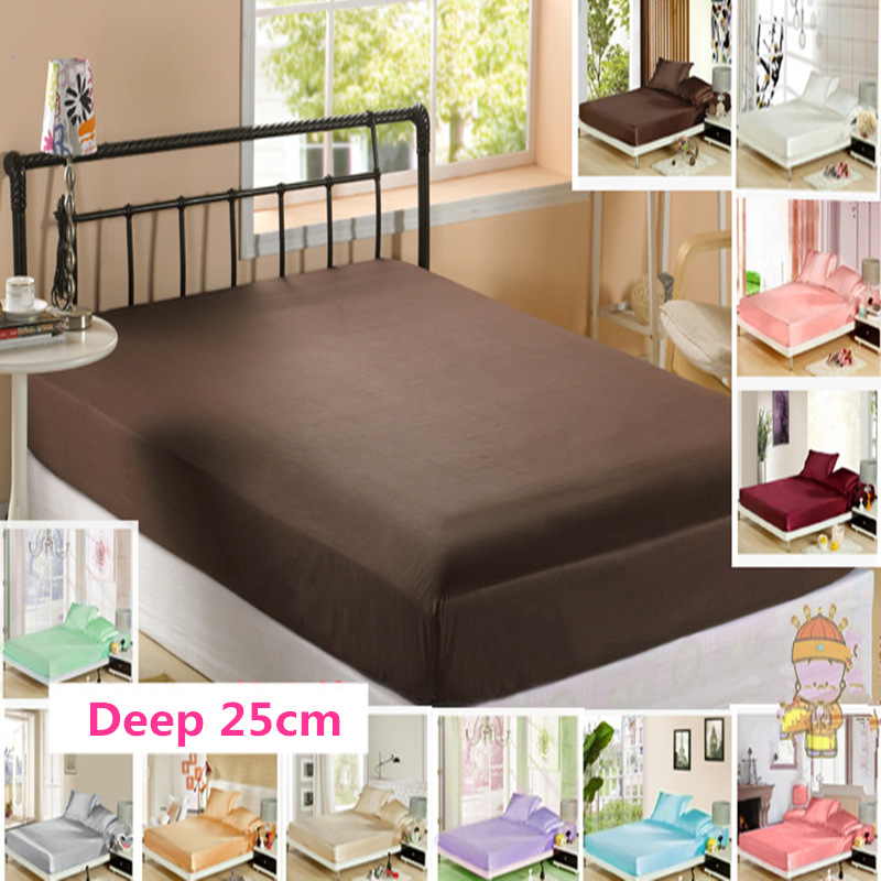 Transport gratuit 100% Mulberry Silk Fitted Sheet Deep 25cm saltea Protector de culoare solidă multi-dimensiune