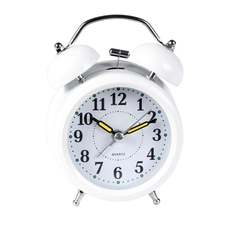 Aimecor Happy Home Bedside Alarm Clock Double Bell Desktop Alarm Clock with Light Classic Metal Quartz Alarm Clock 1PC