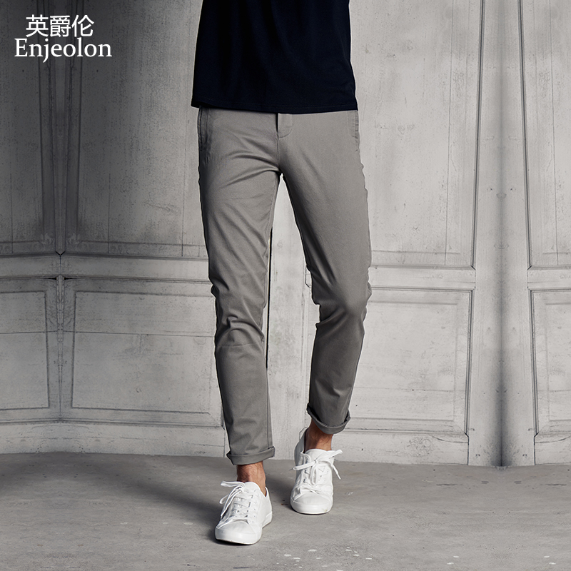 Enjeolon Brand Cotton Straight Long Trousers Pants Men Casual Pants Man Black Solid Pants Male Free Shipping Plus Size K6268
