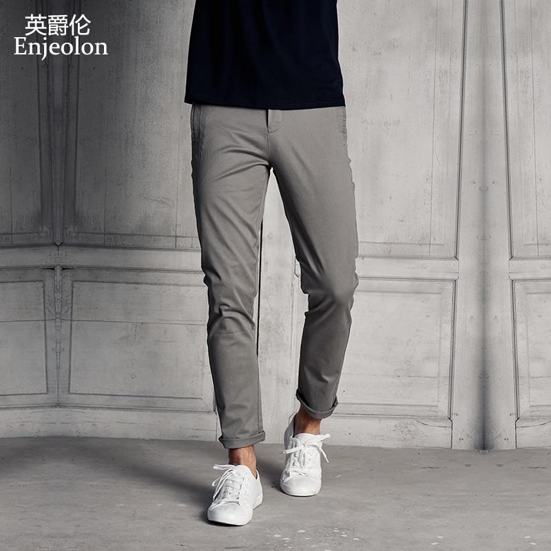 Enjeolon Brand Cotton Straight Long Trousers Pants Men Casual Pants Man Black Solid Pants Male Free Shipping Plus Size K6268