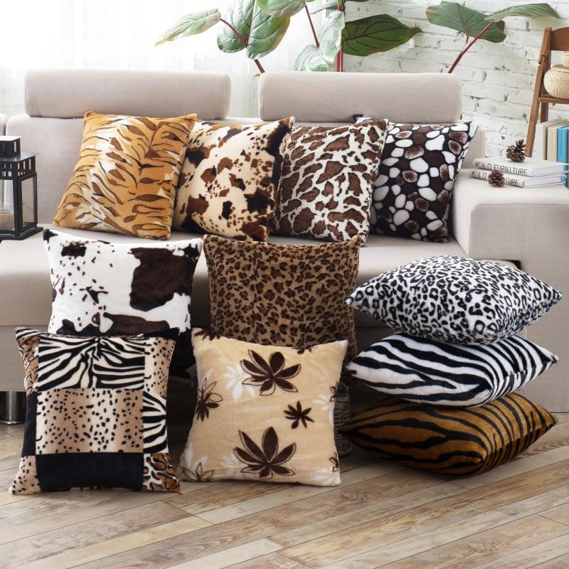 Home Decorative Animal Skin Pattern Tiger Cat Cow Leopard Soft Fleece Cheap  Sofa Car Faux Fur Cushion Cover Throw Pillow Case